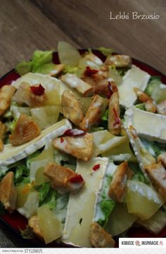 Sałatka z kurczakiem, ananasem i camembertem Składniki… na Stylowi.pl Salad Dressing Recipes, Salad Recipes, Snack Recipes, Cooking Recipes, Healthy Recipes, Breakfast Snacks, Pasta, My Favorite Food, Mozzarella