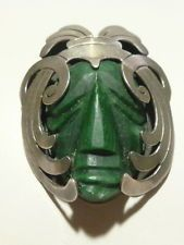 """""""CRO"""" STERLING SILVER TAXCO MEXICO CARVED FACE PENDANT BROOCH PIN MENS WOMENS"""