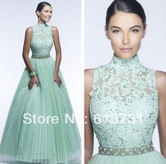2014 new fashion collo alto applique tulle plissettato in rilievo un linered mint green lace prom abiti lunghi da sera, con schiena aperta