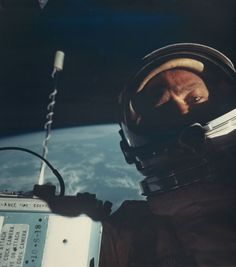 Buzz Aldrin taking the first ever space selfie in November 1966. | 24 Historic Photos That'll Make You Want To Be An Astronaut