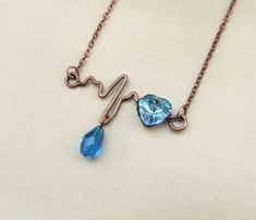 Heartbeat necklace Swarovski crystal jewelry by VeraNasfaJewelry