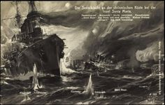 A German postcard celebrating the Battle of Coronel, called the Battle of the Island of Santa Maria, November 1914.
