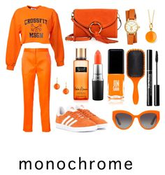 """Orange is the new Black"" by brontexxx ❤ liked on Polyvore featuring MSGM, adidas Originals, Victoria's Secret, Maison Rabih Kayrouz, JINsoon, Dolce&Gabbana, Tory Burch, MAC Cosmetics, Denman and Syna"