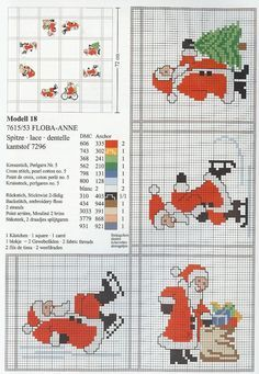Centre de table noël au point de croix Santa Cross Stitch, Cross Stitch Charts, Cross Stitch Patterns, Cross Stitching, Cross Stitch Embroidery, Theme Noel, Christmas Embroidery, Christmas Cross, Christmas Minis