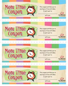 Cool idea as a gift to your child, and wife!  Mom Time Coupons | All Pro Dad