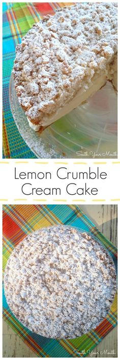 Lemon Crumble Cream Cake with a crumb topping dusted with powdered sugar tender cake and lemon cream filling. Lemon Crumble Cream Cake with a crumb topping dusted with powdered sugar tender cake and lemon cream filling. Lemon Desserts, Lemon Recipes, Just Desserts, Sweet Recipes, Baking Recipes, Delicious Desserts, Cake Recipes, Dessert Recipes, Yummy Food