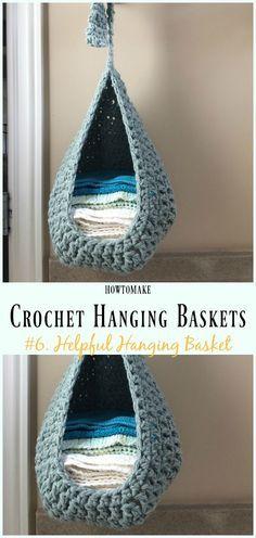 Crochet Helpful Hanging Basket Free Pattern- Hanging #Basket; Free #Crochet; Patterns