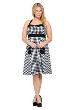 4b367a9db3f Retro Chic By Torrid - Gingham Poplin Halter Dress Fat Fashion