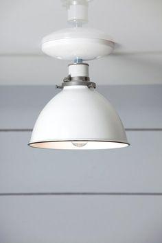 Industrial Ceiling Mount light- White Metal Shade Lamp - Semi Flush Mount