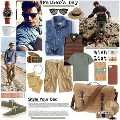 Father's Day Wish List by barngirl on Polyvore featuring J.Crew, Boden, American Eagle Outfitters, Brooks Brothers, Dorfman Pacific, Venessa Arizaga, Keith Brymer Jones, Hermès and Zanella