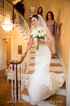 wedding pictures love the bouquet. Love coming down the stairs pic!