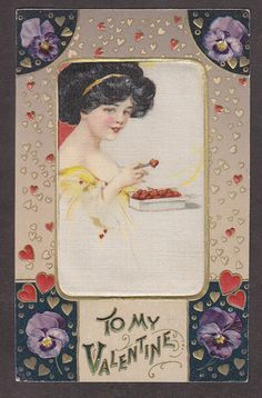 P4922 Schmucker Postcard Silk Patch Valentine Heart Shaped Candy Written On | eBay