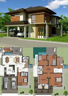 Luxurious Four Bedroom Two Storey House With Provisions For Two Pools - Ulric Home Modern House Floor Plans, Modern House Facades, Two Storey House Plans, Plans Architecture, Two Story Homes, Sims House, Facade House, Detached House, Pools