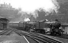 LNER 67749 double heading with Ex.LMS Black 5 44890 at Nottingham Victoria Diesel Locomotive, Steam Locomotive, Steam Trains Uk, Steam Railway, British Rail, Steam Engine, Train Tracks, Train Station, Historical Photos