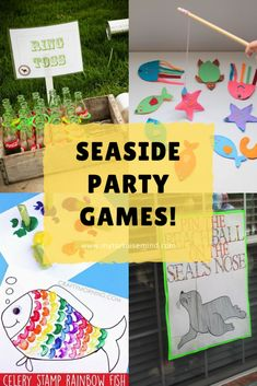 8 easy ideas for party games and activities when hosting a seaside theme kids birthday party or baby shower. Fun Party Games, Party Activities, Party Ideas, First Birthday Party Themes, 8th Birthday, Really Fun Games, Seaside Theme, Games For Kids, First Birthdays