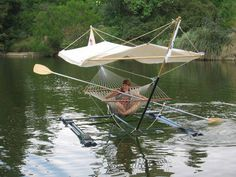 Hammock Boat, this is the coolest thing. Take the roof off and get a tan :)