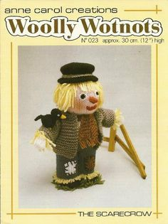 PDF Woolly Wotnots Knitting Pattern – The Scarecrow by Anne Carol Creations. 023 high figure) by DorothyLauderArt on Etsy Scarecrow Doll, Soap Packing, Knitting Patterns, Crochet Patterns, Paint Supplies, Bunny Toys, My Collection, Stuffed Toys Patterns, Pattern Paper