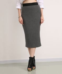 Another great find on #zulily! Charcoal Ribbed Pencil Skirt #zulilyfinds
