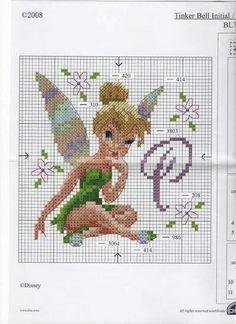 Tinkerbell 2 of 5 Cross Stitch Fairy, Cross Stitch For Kids, Cross Stitch Alphabet, Cross Stitch Kits, Cross Stitch Charts, Cross Stitch Designs, Cross Stitching, Cross Stitch Embroidery, Embroidery Patterns