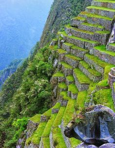 Stone Terrace at Machu Picchu, Peru