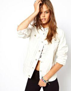 ASOS Distressed Longline Denim Jacket in Soft White