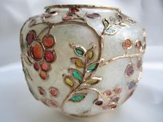 Autumn Frost Hand Painted Glass Candle Holder OOAK Gold by VioMar