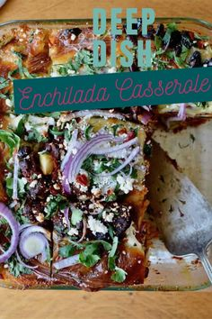 This Black Bean Enchilada Casserole has eight layers of tortillas, black beans, roasted vegetables, and cheese making it the deepest, most delicious ever! #enchiladacasserole #vegetarianenchiladas #blackbeanenchiladas #vegetableenchiladas #cincodemayo