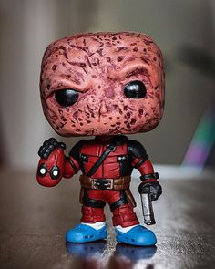 "Custom Deadpool Funko Pop by Abbernaffy Customs (@abbernaffy_customs) on Instagram: ""Tonight's custom. Unmasked movie Deadpool! #custom #customtoy #customvinyl #customfunko #funko…"" Custom Pop Vinyl, Custom Funko Pop, Funko Pop Display, Deadpool Funko Pop, Deadpool Face, Deadpool Movie, Funko Pop Marvel, Funko Pop Figures, Pop Vinyl Figures"