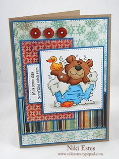 overflow with fun by NikiE - Cards and Paper Crafts at Splitcoaststampers Happy Crafters, Whimsy Stamps, High Hopes, Scrapbook Cards, Scrapbooking, Pinwheels, Card Stock, Balloons, Scrapbooks