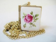 Small Vintage Gold Tone Book Locket Charm ~ Pendant ~ White ~ Pink Rose Ceramic