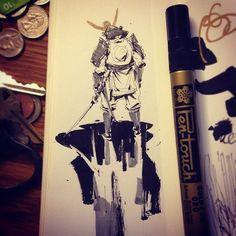 Splashing around  #ink #drawing #sketch #sketchbook #samurai #fantasy #illustration