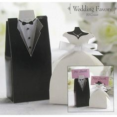 Add a little personality to your big day with these Bride & Groom Favor Boxes! Quirky and unique, these boxes represent grooms' tuxedos and bridal gowns. Complete with intricate details and a place ca
