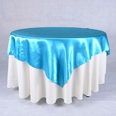 60 x 60 Satin Table Overlays Turquoise ( 60 x 60 Inch ) - BBCrafts - Wholesale Ribbon, Tulle Fabrics, Wedding Supplies, Tablecloths & Floral Mesh at Best Prices