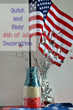 Easy 4th of July Decor with Rice and Food Coloring