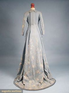 Augusta Auctions, April 2009 Vintage Fashion and Textile Auction, Lot 126: Embroidered Blue Wool Morning Gown, 1870s