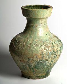 A large Chinese Green Glazed Hu, Eastern Han Dynasty, 25 - 220 AD