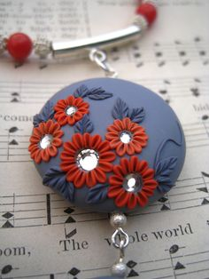 Moobie Grace - Polymer Clay Necklace - Flowers - Crystals - Gray & Coral - Candy Jade - Free Shipping. $35.00, via Etsy.