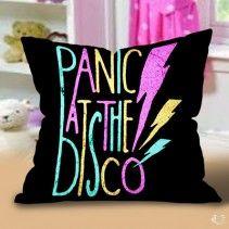Panic at the disco design art logo black Pillow Cases
