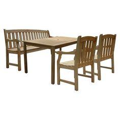 Vifah Renaissance Rectangular Table, Bench Arm Chair Outdoor 4pc Dining Set - Grey : Target