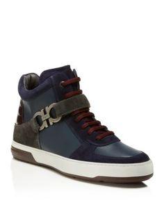 Salvatore Ferragamo Nayon Mixed Media Hi Top Sneakers | Bloomingdale's