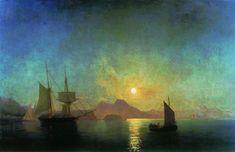 The Bay of Naples by Moonlight, 1842 by Ivan Aivazovsky. Romanticism. marina. Aivazovsky National Art Gallery, Feodosiya, Ukraine