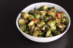 Roasted Brussels Sprouts with Apple and Bacon | @Melanie Bauer at Melanie Makes