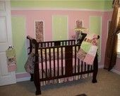 Pink Brown Green Toile and Paisley Custom Baby Crib Rag Quilt Nursery Bedding Set. $229.99, via Etsy.
