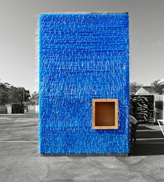 #blue #design #architecture #recycle -Bluetube Bar, by Dose. Using cable ties.