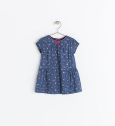 ZARA // sweet little printed dress with unique ruffle detail