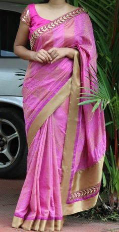 Pretty pink silk saree and blouse design.