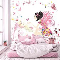 Fototapete Kinderzimmer 274,5 X 254 Cm Fee Blumen Schmetterlinge Mädchen  Rosa Kinder Inklusiv Kleister   #Fototapete #fee #kinderzimmer # Wandgestaltung ...