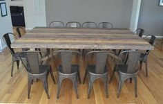 2.5M INDUSTRIAL TABLE WITH 12 REPLICA TOLIX CHAIRS BAYGALDS421