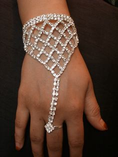 Beautiful Bollywood Indian Diamante Hand Jewellery Bracelet Panja uk.picclick.com