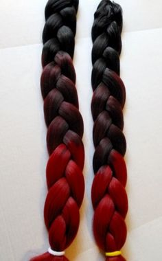 """Berry Red"" Ombre Three Toned Kanekalon Jumbo Braid Hair 41 inch in Clothing, Shoes & Accessories, Women's Accessories, Wigs, Extensions & Supplies 
